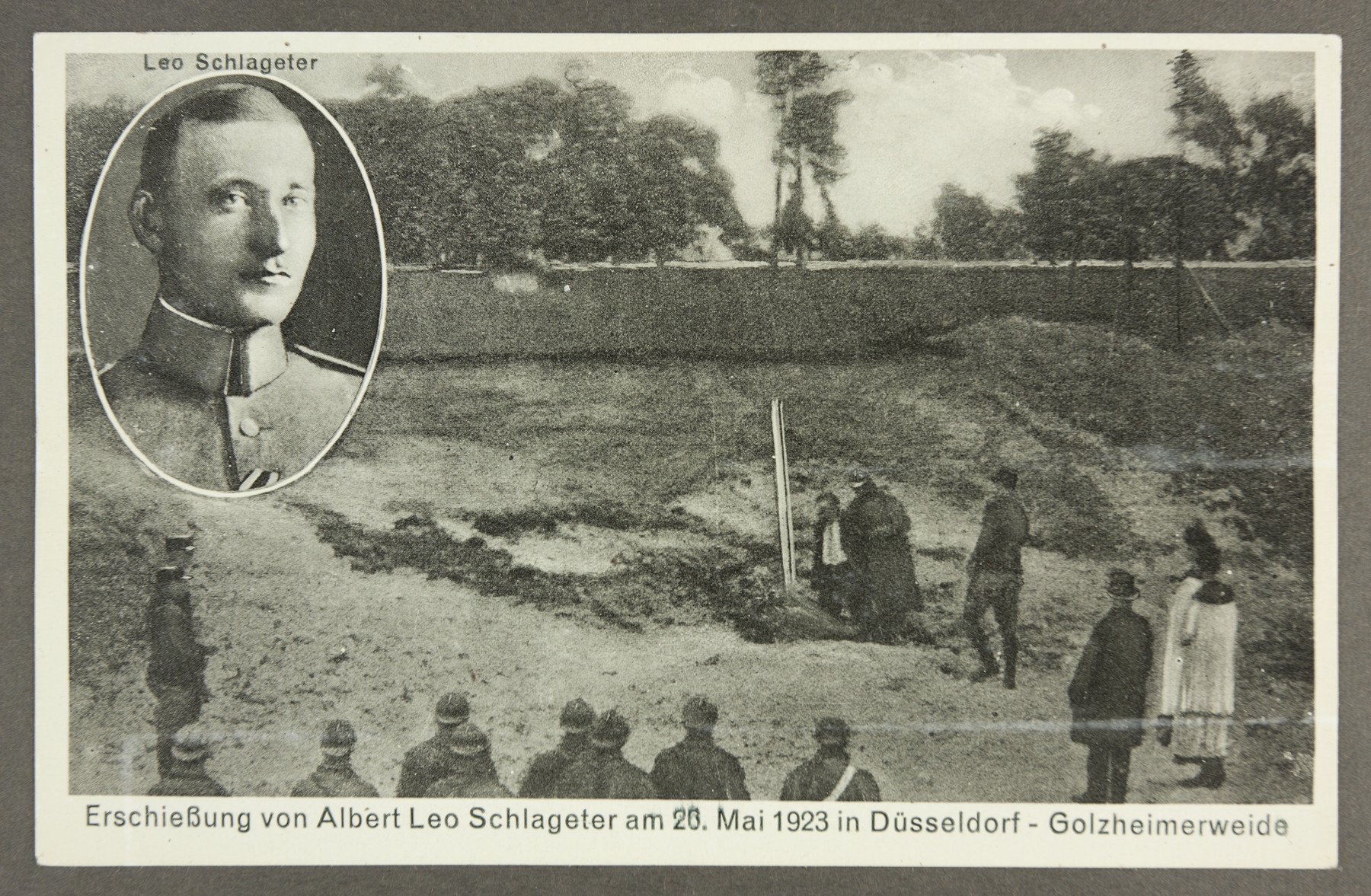 Propaganda commemorating the execution of right-wing German nationalist Albert Leo Schlageter by French occupation forces.    Schlageter became a popular figure in Nazi propaganda.