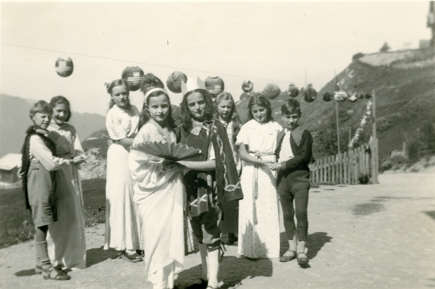 Jewish children perform in a summer camp in Feldis Switzerland.  Mirjam Ermann is pictured in the front, left.