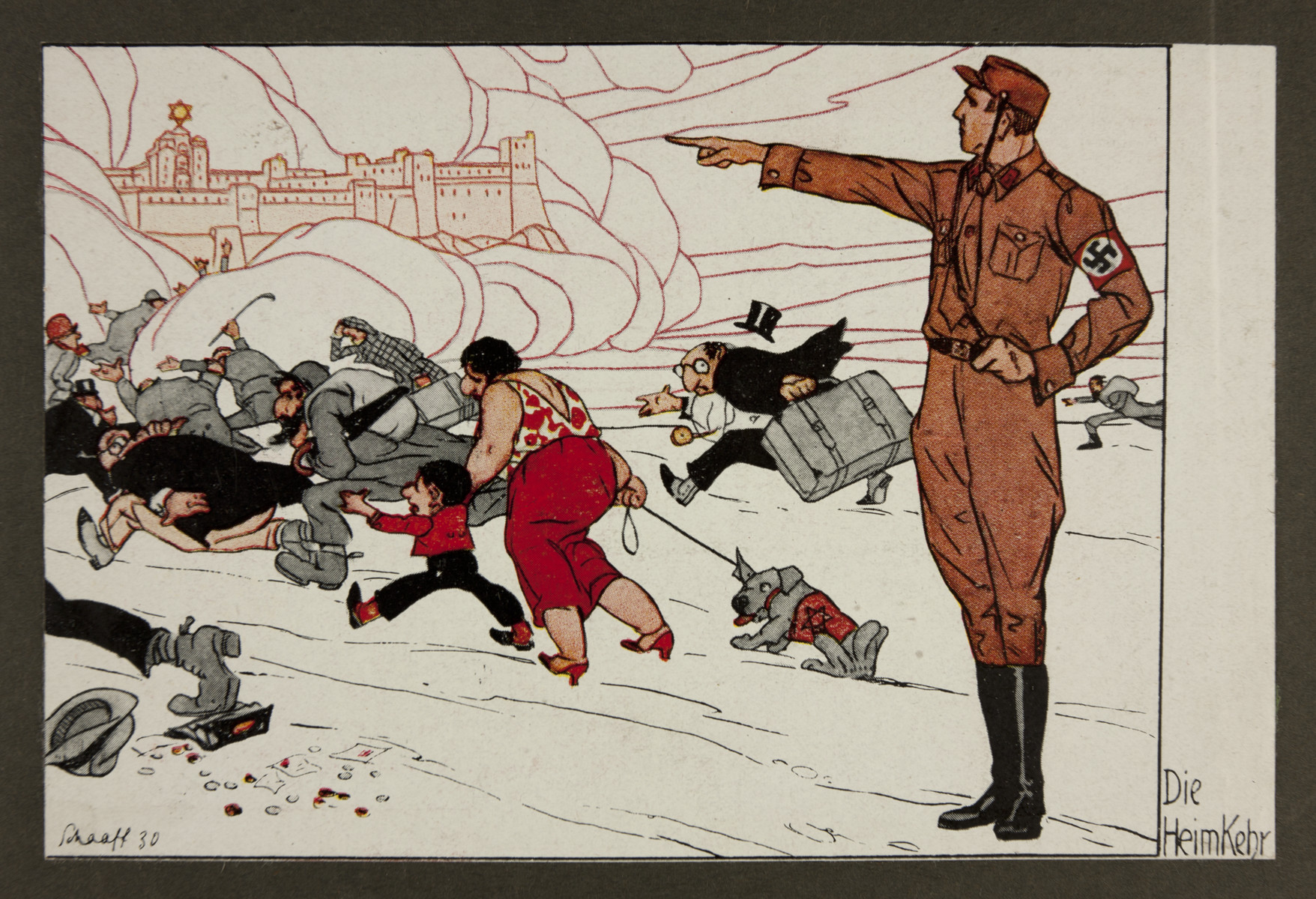 "Antisemitic propaganda titled, ""The Return Home,"" showing a Nazi stormtrooper directing stereotypically depicted Jewish men, women, and children fleeing toward a walled city (possibly Jerusalem) far in the distance."