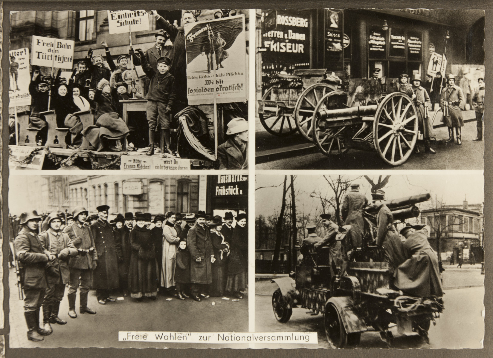 "Four scenes from the first national elections in Weimar Germany.   The text reads: ""'Free elections' to the National Assembly."""