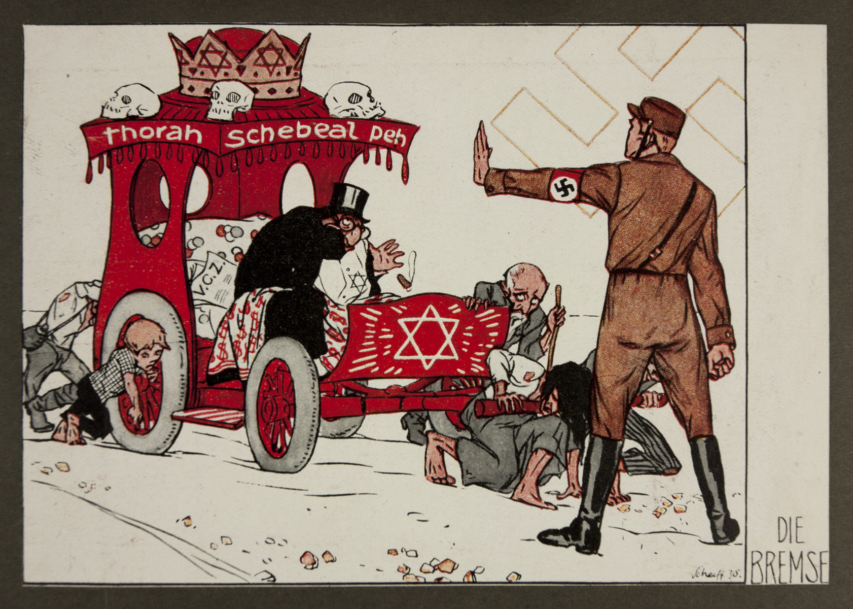 """Antisemitic propaganda titled, """"The Brakes,"""" showing a Nazi stormtrooper stopping a vehicle in which a  stereotypically depicted man is being pushed."""