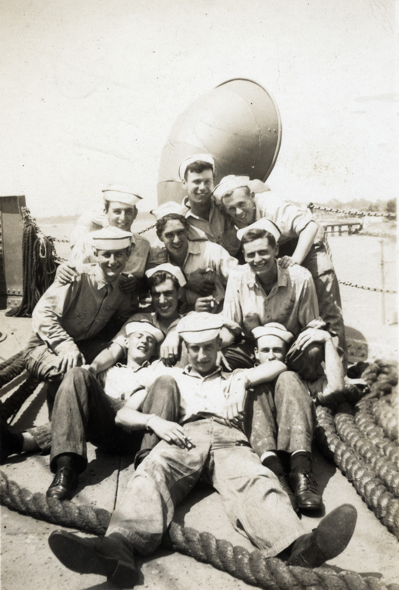 American crew members on board the Hatikva (formerly the Tradewinds) . Murray Greenfield is pictured in the back on the far left.