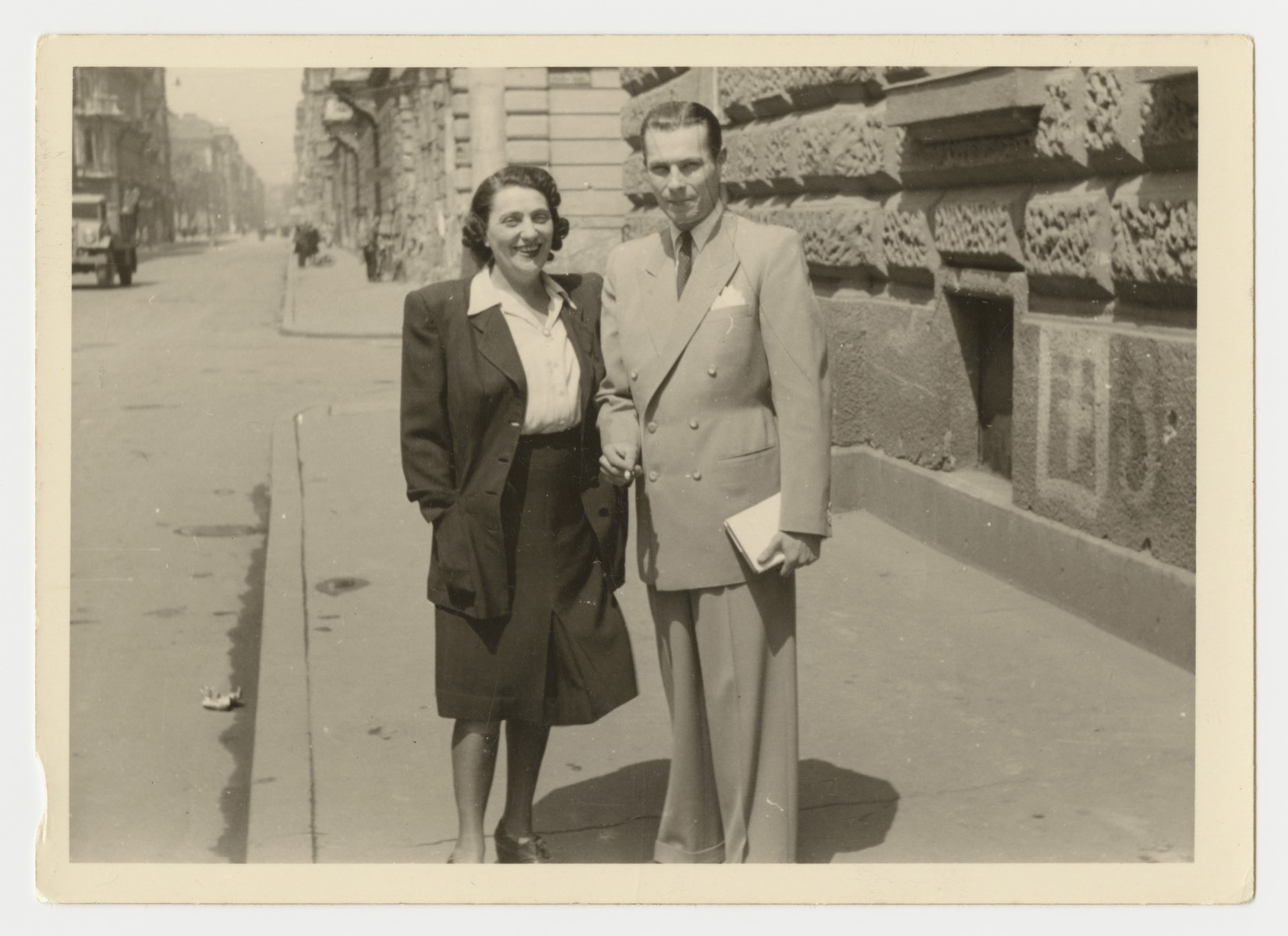 Sara Koranyi and her son Erwin pose on a street in Budapest..