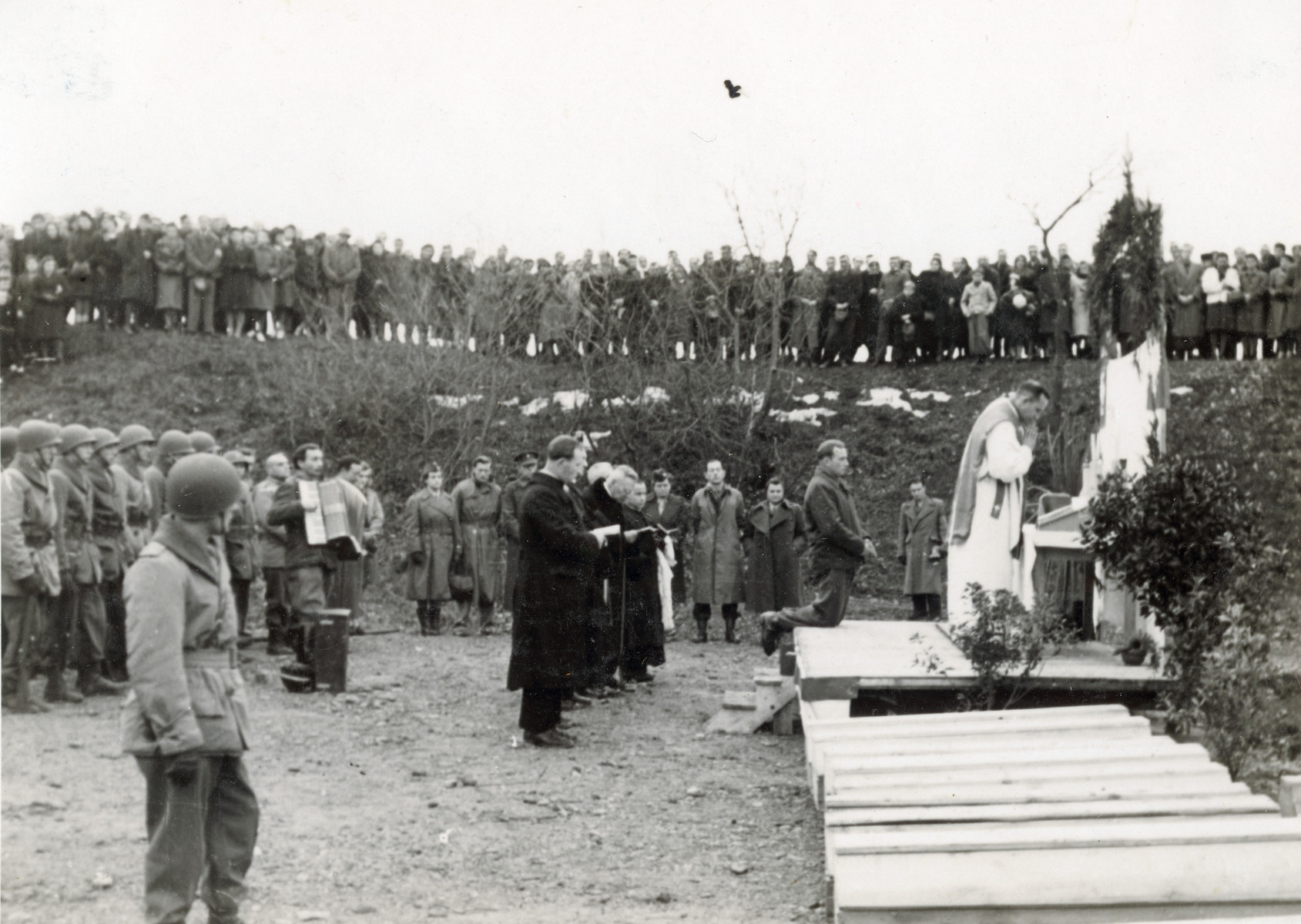 Early dedication of future monument to the victims of the Pocking concentration camp.