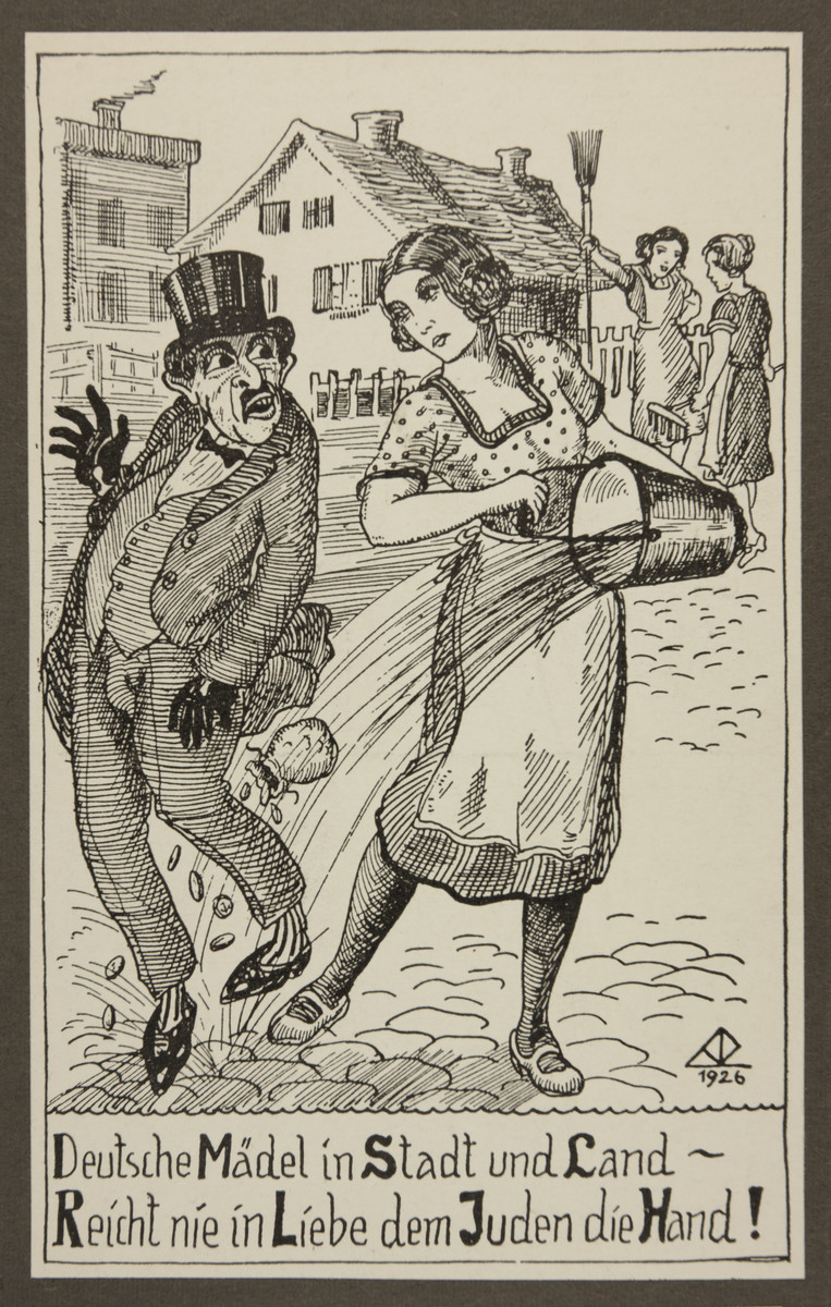 """Antisemitic propaganda of a young woman dousing a stereotypically depicted Jewish man with a bucket of water.   The text reads: """"German girls in the city or on the land - never in affection extend the Jew your hand!"""""""