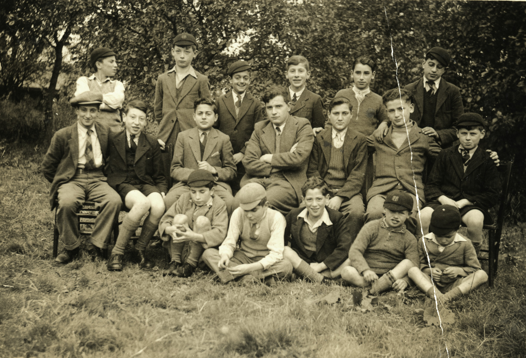 Portrait of school boys in Chase Terrace near Birmingham.  Gus Meyer who had come to England on a Kindertransport is in the middle row third from the right,