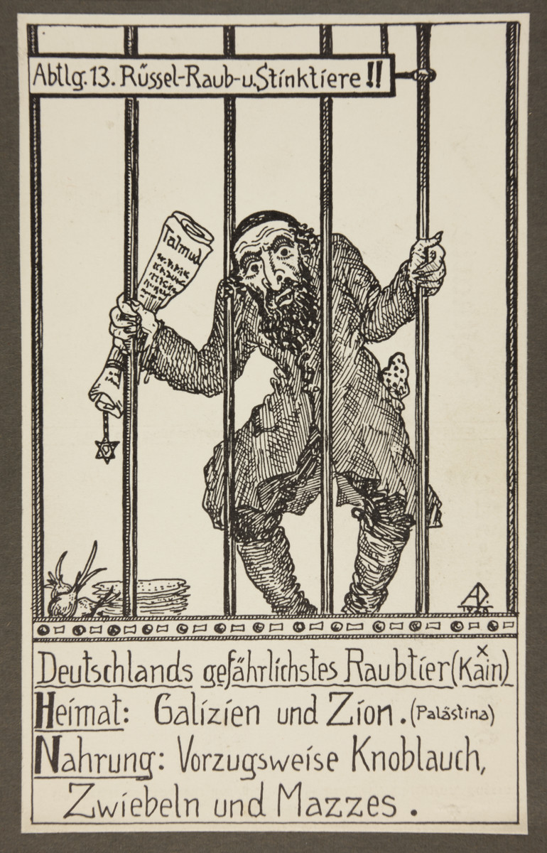 "Antisemitic propaganda depicting a stereotypical Jew in a zoo cage.  The text reads: ""Class 13. Predatory animals with elongated snouts that stink.   Germany's most dangerous predator (Cain) Habitat: Galicia and Zion (Palestine) Diet: Mainly garlic, onions, and matzohs"""