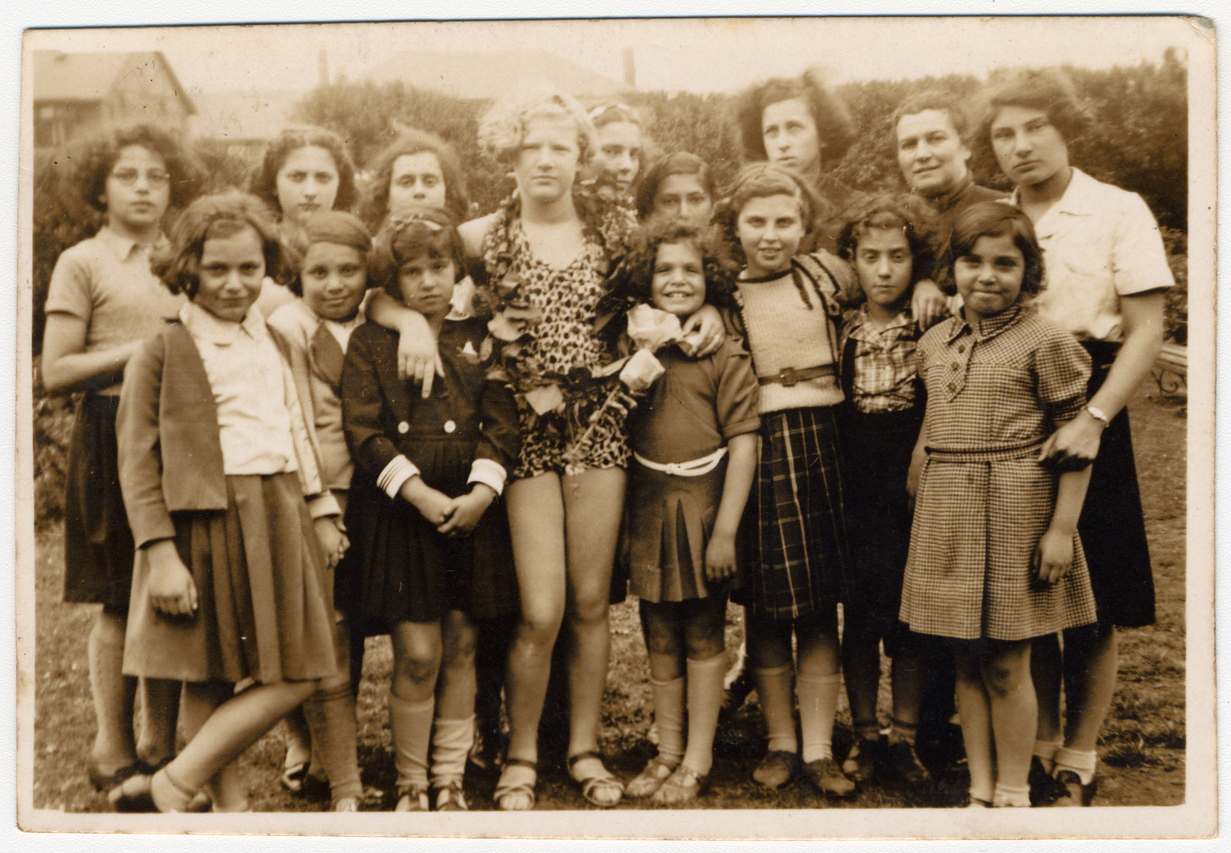 Group portrait of Jewish refugee girls who had come to England on a Kindertransport.