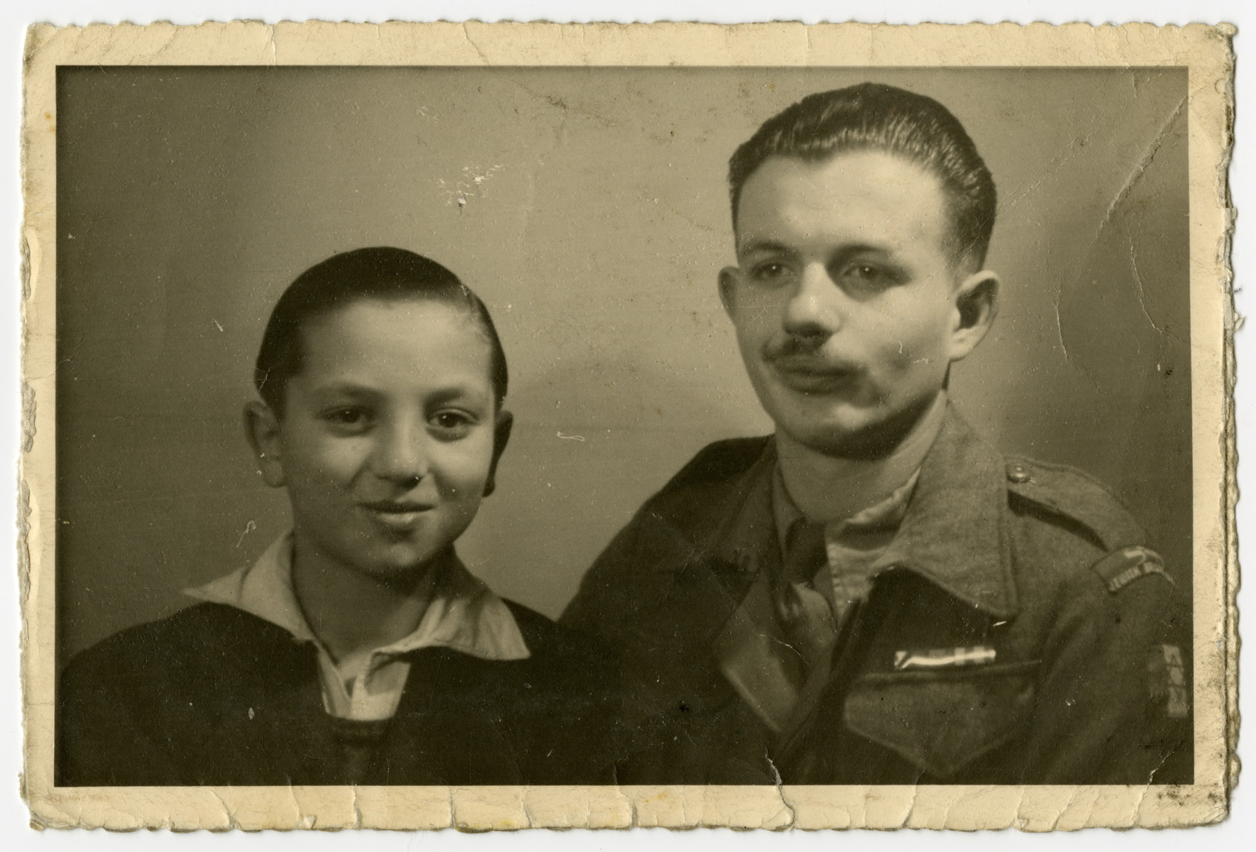 Charles Rojer poses with Dov Stein, a member of the Jewish Brigade who befriended him after the war.    Dov Stein was later killed during an Arab raid.