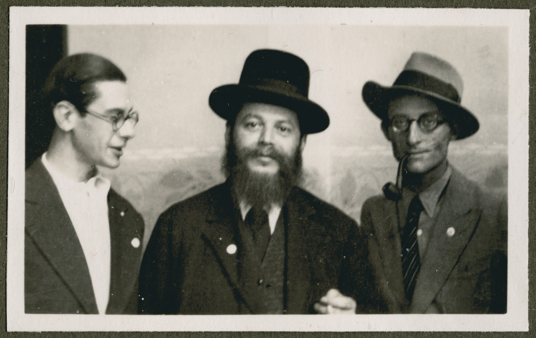 Close-up portrait of three men probably during the 18th Zionist Congress.
