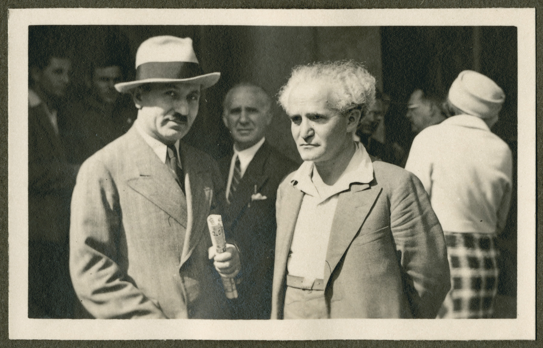 David Ben Gurion (right) poses with another man probably during the 18th Zionist Congress.