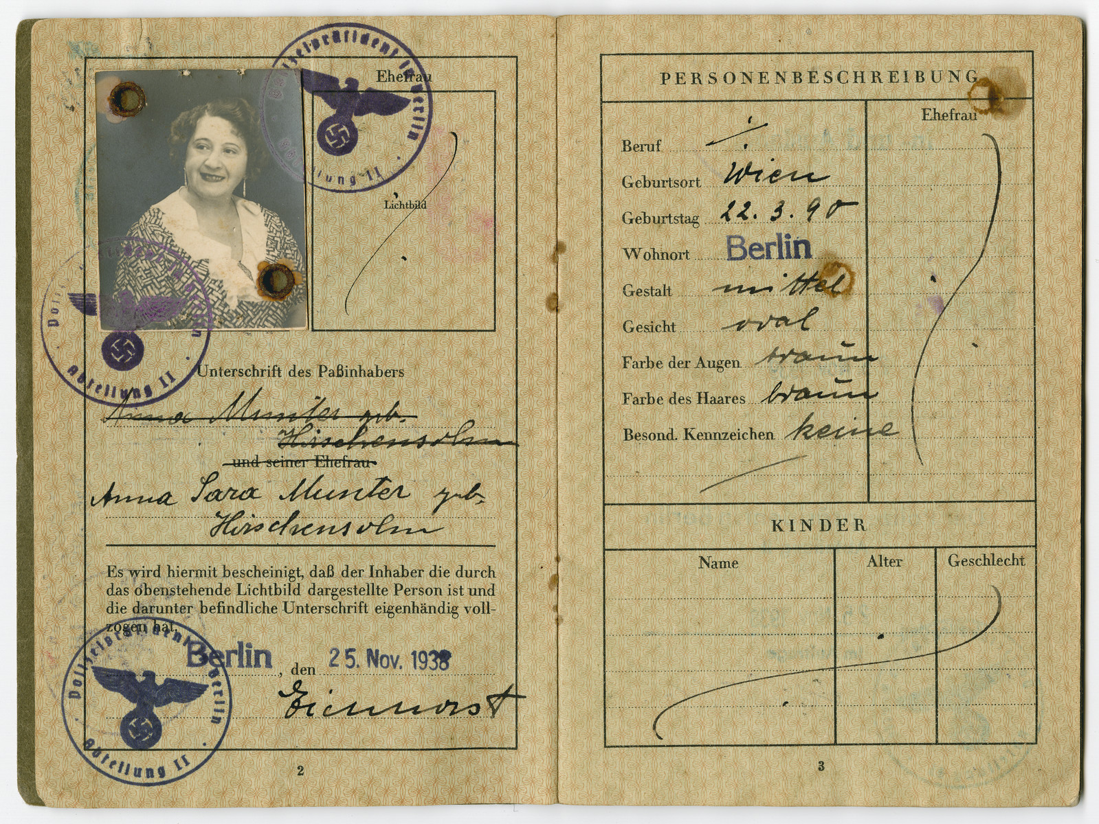 Anna Hirschensohn Alexander German passport showing her forced name change to include the middle name of Sara.  The Jews were not allowed to have Aryan names on their passports, so all of the boys were named Israel and the girls were Sara.