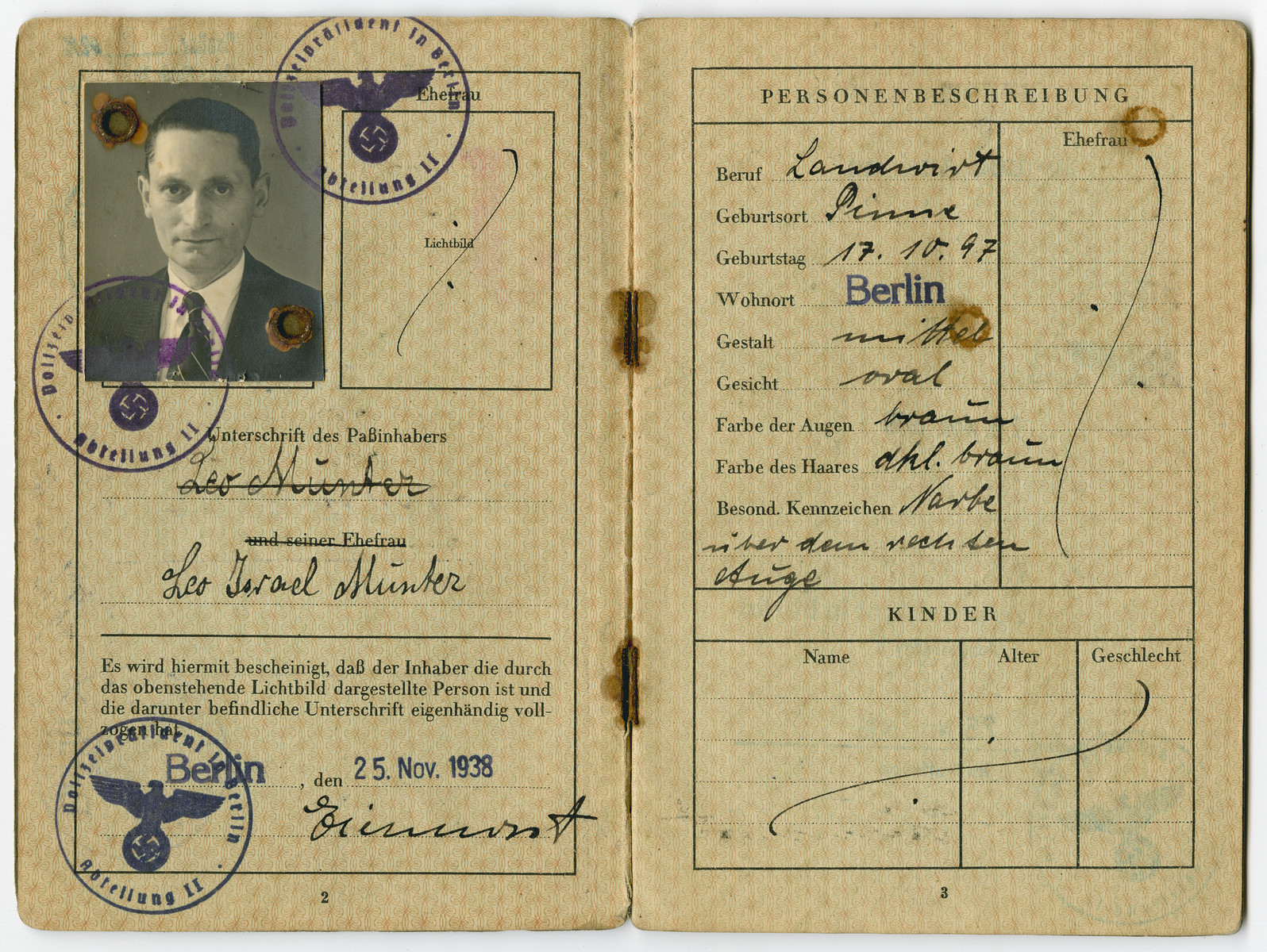 Leo Munter's (Annemarie's step-father), German passport showing his forced name change to include the middle name of Israel.   The Jews were not allowed to have Aryan names on their passports, so all of the boys were named Israel and the girls were Sara.