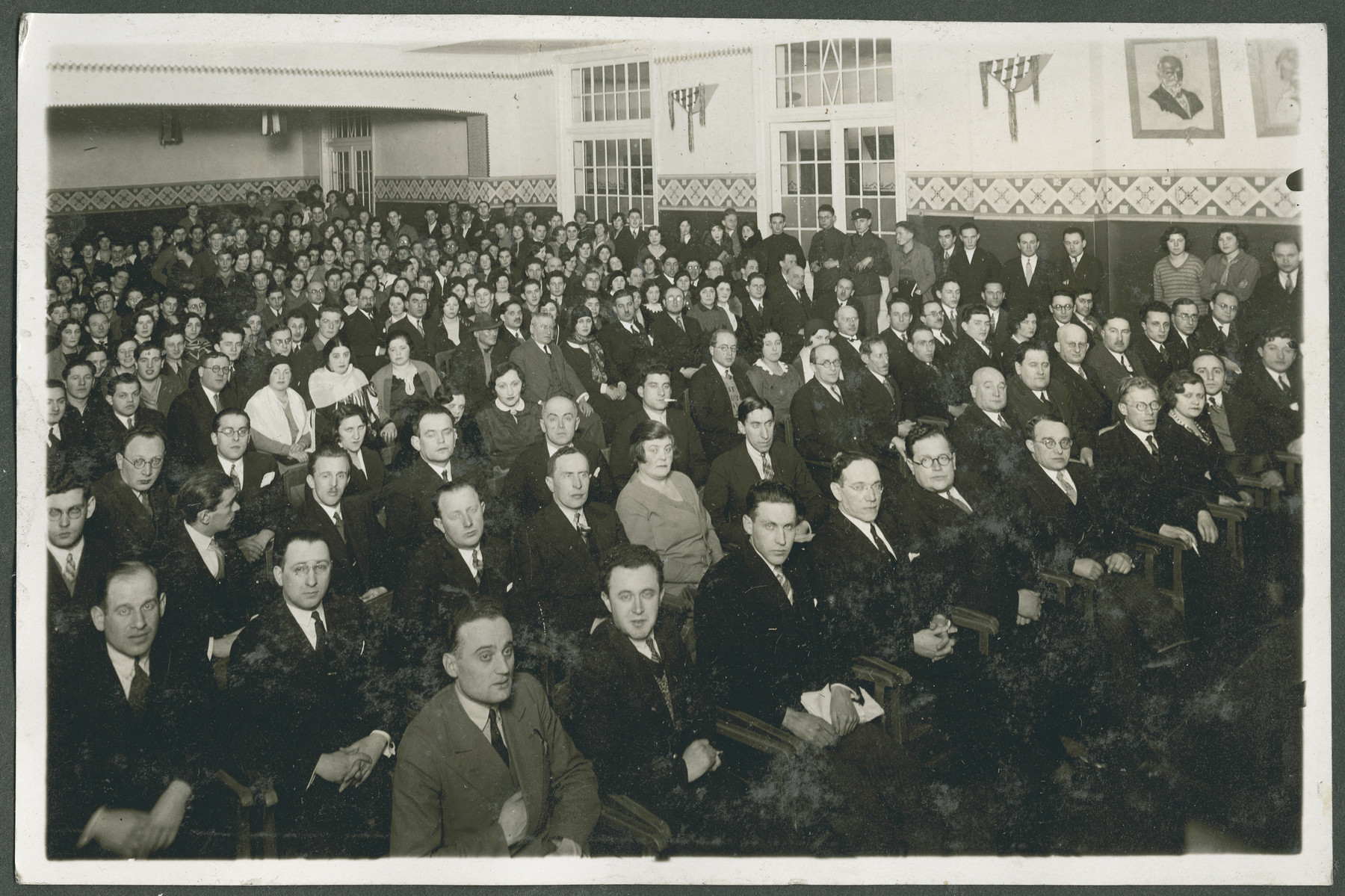 Delegates to what is probably the 12th Zionist Congress.  Samuel Gotz is pictured in the second row, sixth from the right.
