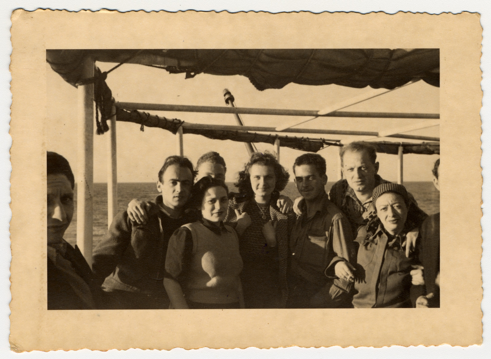 Group portrait of Romanian Jews sailing from Constanta to Israel on board the Galila.