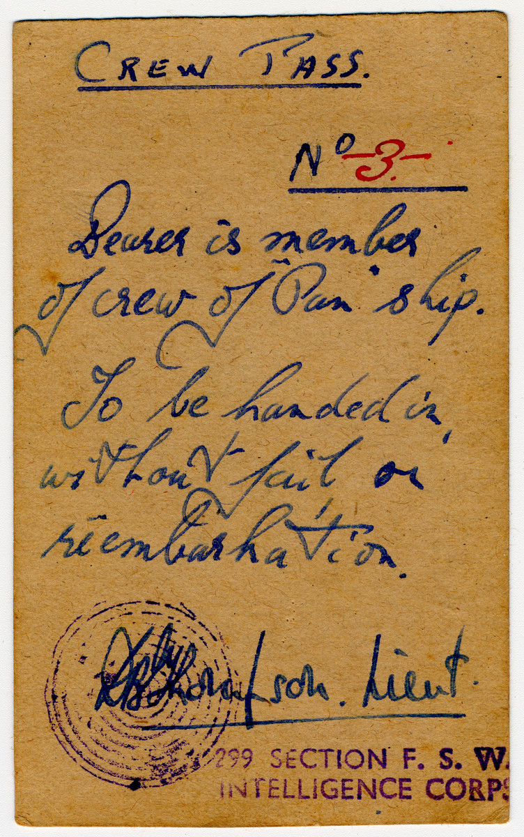 Crew pass issued to Zev Siegel, a crew member of the Pan Crescent (Atzmaut) to allow him to reembark in Cyprus.