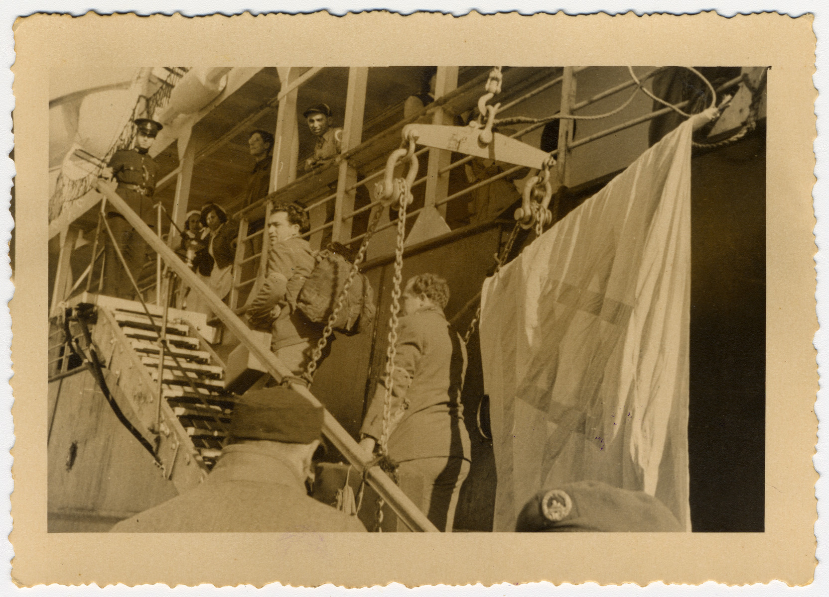 Jewish detainees in Cyprus board the SS Galila or the Atzmaut as they prepare to depart for Israel.