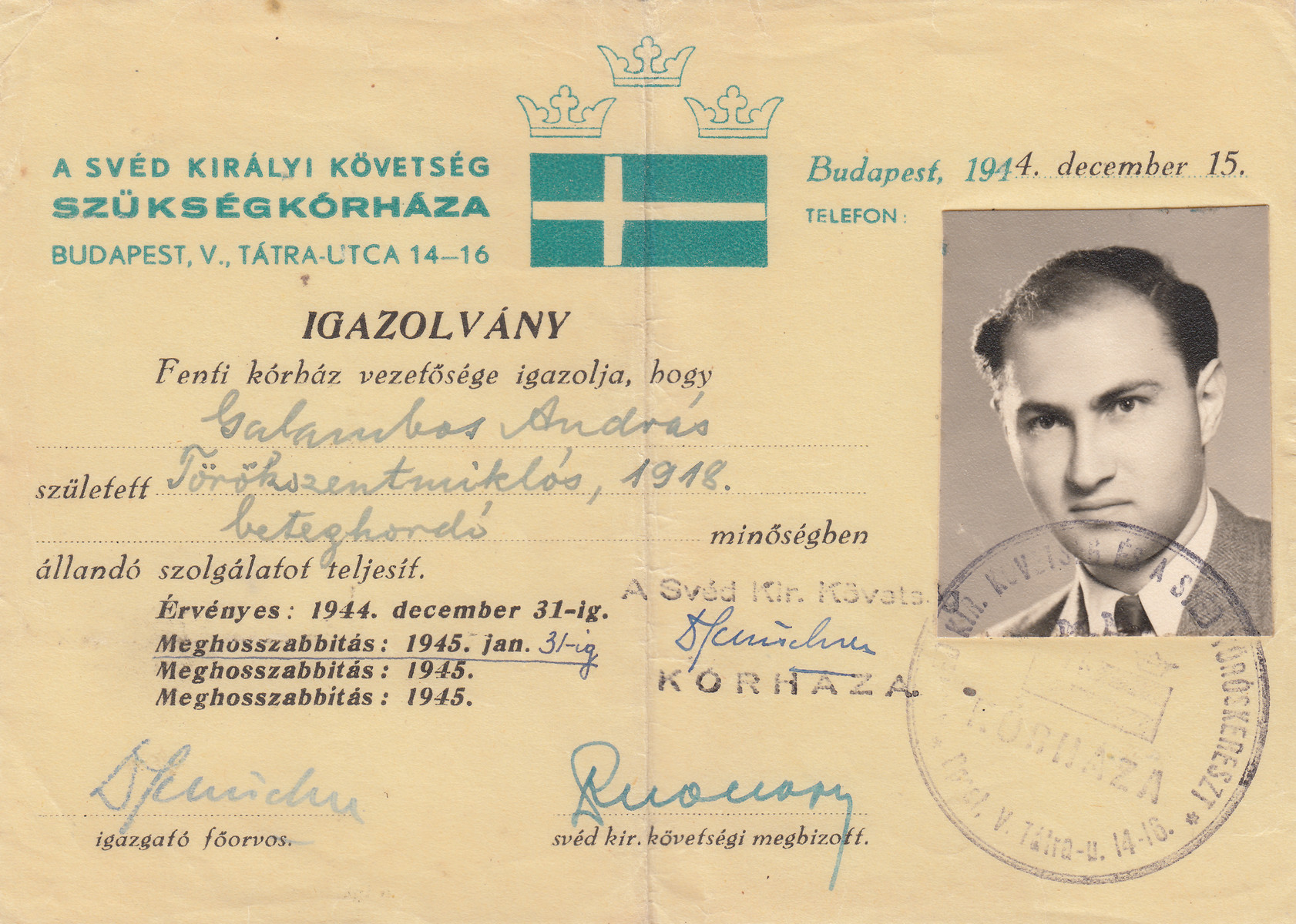 Wallenberg schutzpass issued to Andras Galambos.