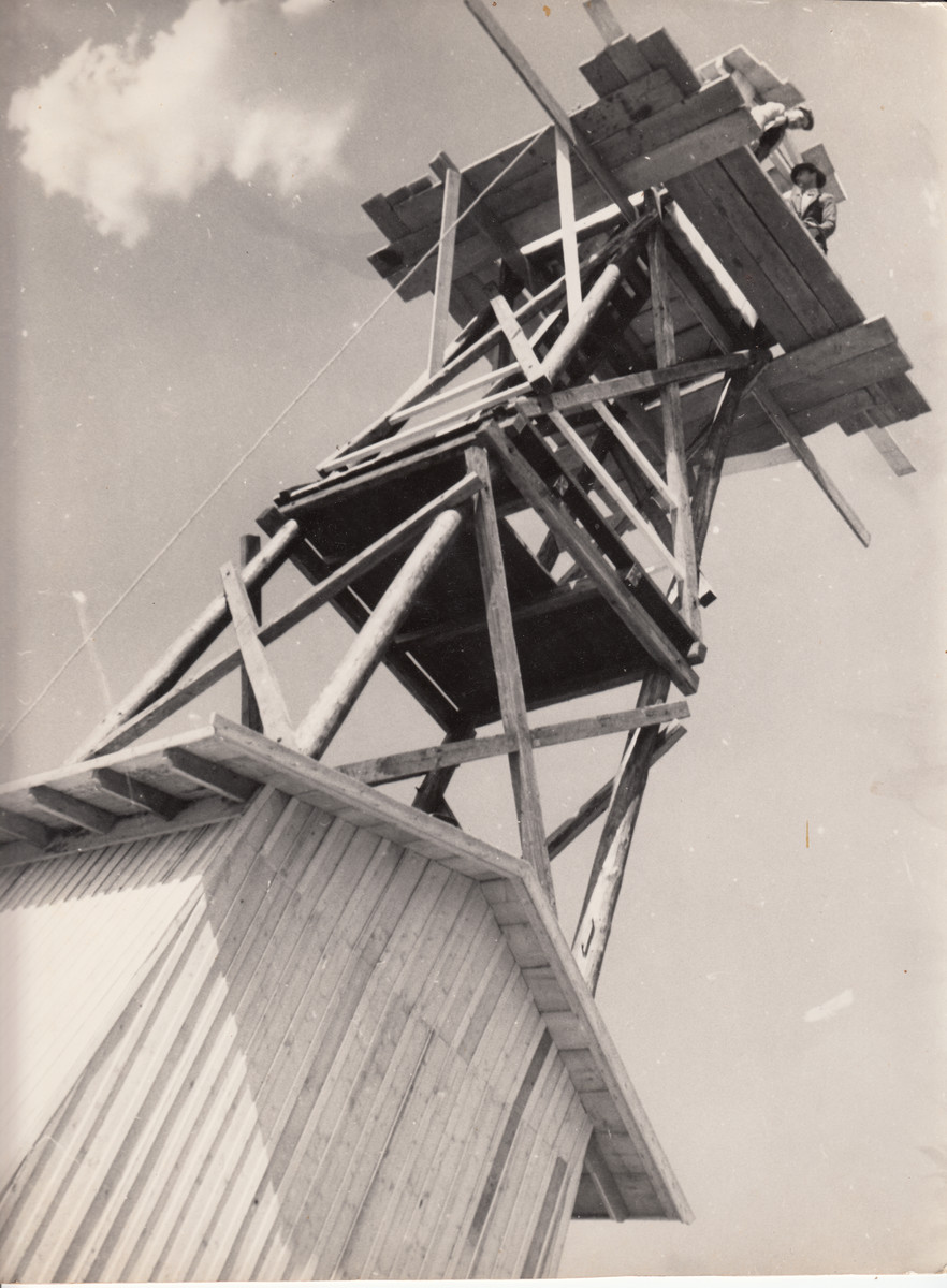 View of a wooden watch tower in a construction site in Hajduhadhaz.