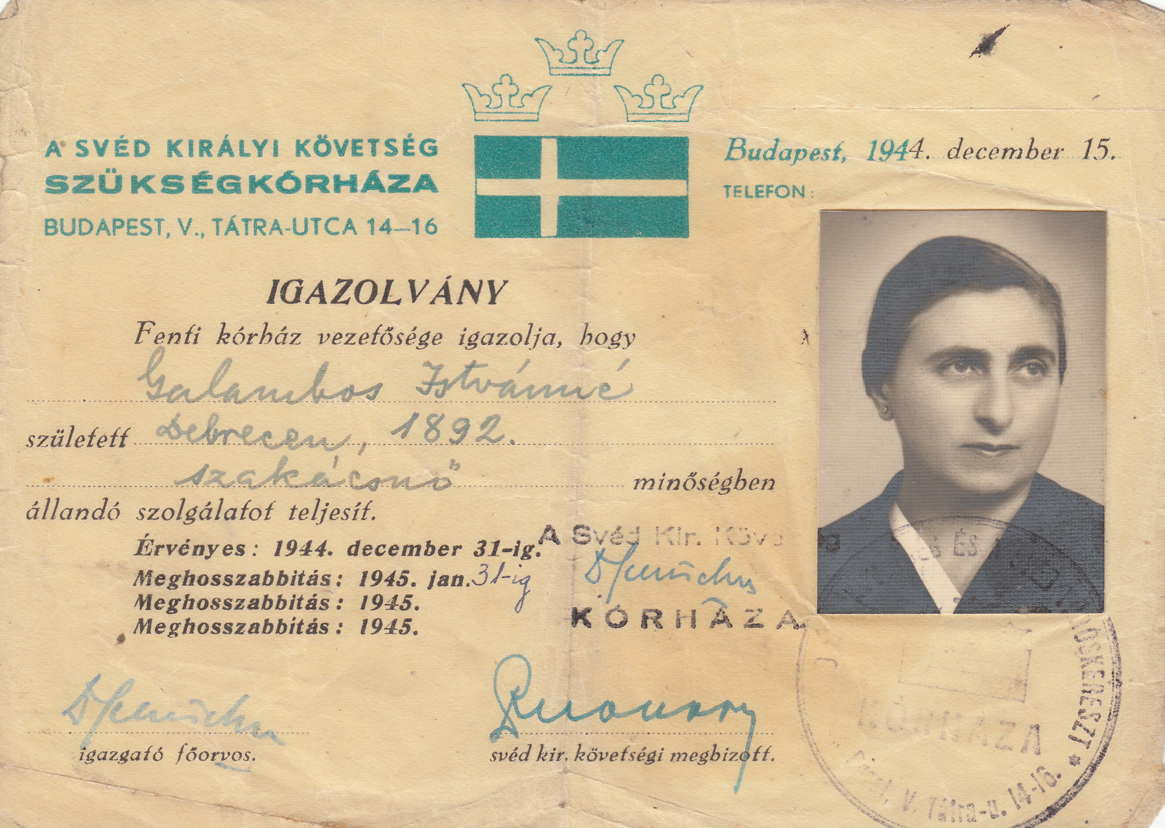 Wallenberg schutzpass issued to Zelma Galambos.