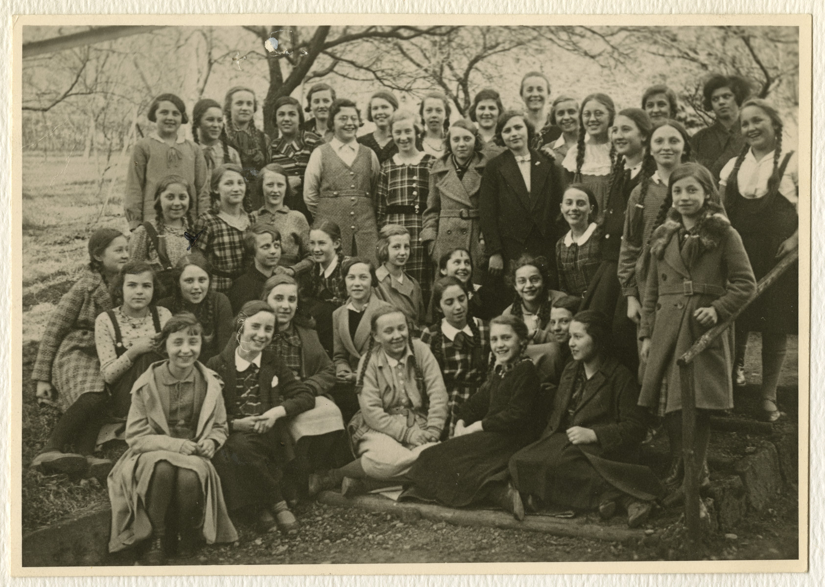 Group portrait of school girls are Esslingen.  Ruth Gold pictured second row, second from the left is the only Jewish student.
