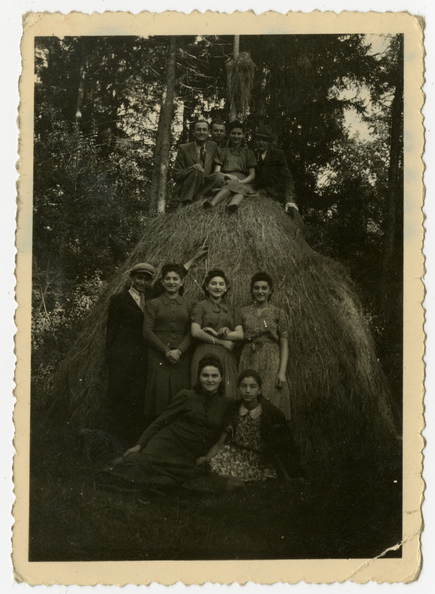 Group portrait of the Herskovits cousins.    Gizelle is pictured second from the left in the middle row.