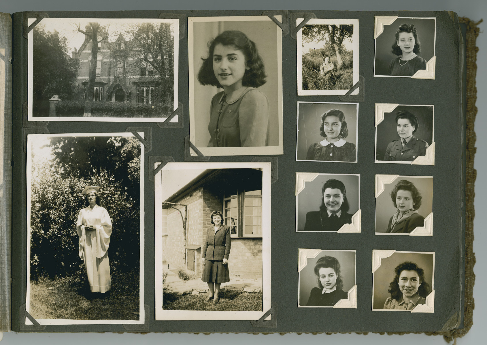 Photo album page of girls in the Jewish Refugee Hostel 34 Wheeleys Road, Edgbaston, Birmingham.  The house was only a few streets away from Neville Chamberlain's home and was donated to the Refugee Committee by a Jewish family.    Photos are of girls who lived there in the 1940's:  Marion Kronenberg (later lived in Washington Heights, N.Y.) Next(Lilo)Liselotte Marcus, Herta Jokel (Wien), Fritzi Landes, Gisela Kaufmann (later Zanders), Sonja Goldmann (later Hancock), Marianne ?, Ruth Meier, Margot Glass and Lilly Cohen (later Kasha, wearing high school graduation gown), and Hermine (Mimi) Reisner (later Bergwein, wearing the suit) who was the assistant to the Hostel Matron.