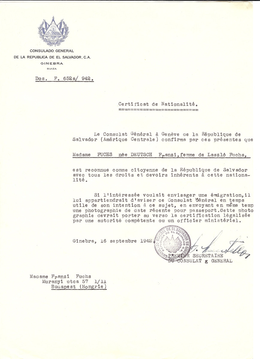 Unauthorized Salvadoran citizenship certificate made out to Franzi (nee Deutsch) Fuchs (the wife of Laszlo Fuchs) by George Mandel-Mantello, First Secretary of the Salvadoran Consulate in Geneva and sent to her in Budapest.