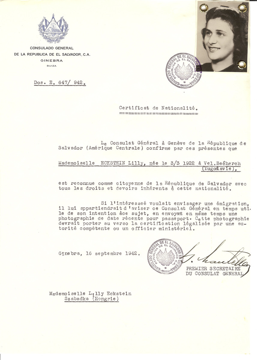 Unauthorized Salvadoran citizenship certificate made out to Lilly Eckstein (b. March 3, 1922 in Vel. Becherch) by George Mandel-Mantello, First Secretary of the Salvadoran Consulate in Geneva and sent to her in Szabadka.  Lilly Eckstein survived deportation to Auschwitz.  The certificate was requested by Miska Banyai who was living in Switzerland.