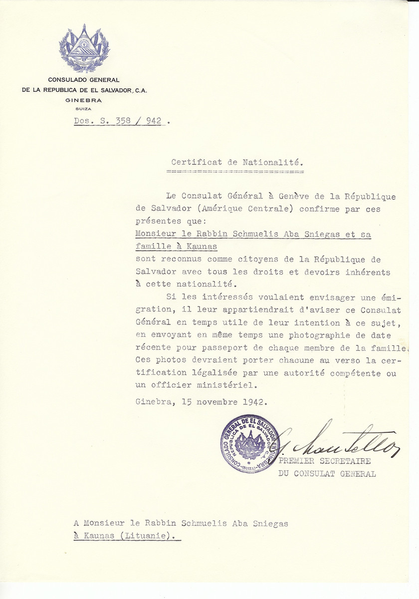 Unauthorized Salvadoran citizenship certificate made out to Rabbi Schmuelis Aba Sniegas and his family by George Mandel-Mantello, First Secretary of the Salvadoran Consulate in Geneva and sent to them in Kaunas.  Rabbi Snieg survived the Holocaust.