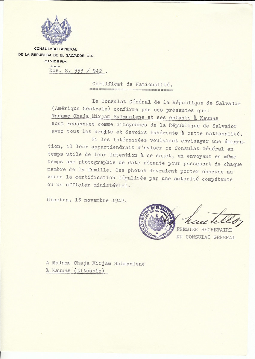 Unauthorized Salvadoran citizenship certificate made out to Chaja Miriam Sulmaniene and her children by George Mandel-Mantello, First Secretary of the Salvadoran Consulate in Geneva and sent to them in Kaunas.