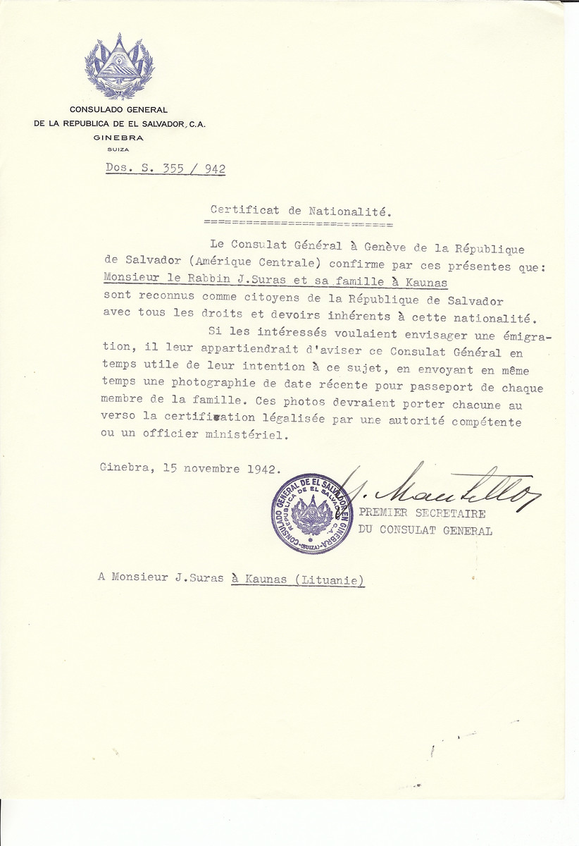 Unauthorized Salvadoran citizenship certificate made out to Rabbi J. Suras and his family by George Mandel-Mantello, First Secretary of the Salvadoran Consulate in Geneva and sent to them in Kaunas.