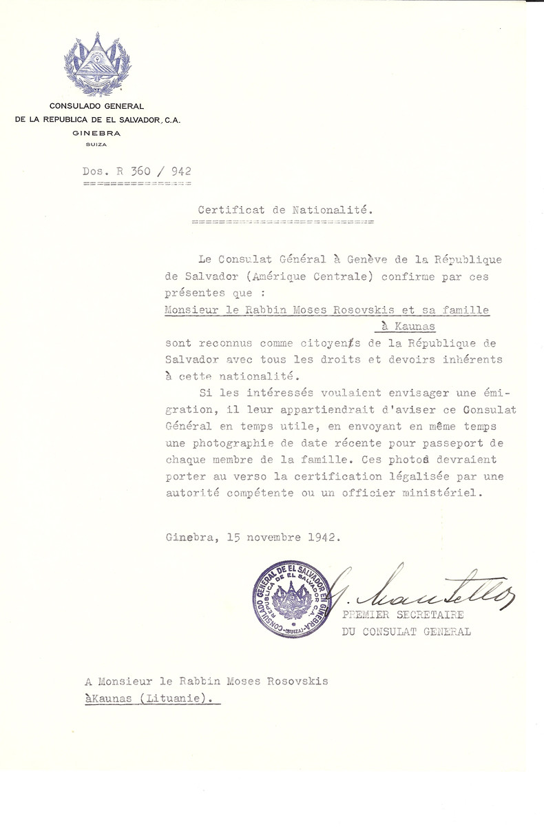 Unauthorized Salvadoran citizenship certificate made out to Rabbi Moses Rosovskis and his family by George Mandel-Mantello, First Secretary of the Salvadoran Consulate in Geneva and sent to them in Kaunas.