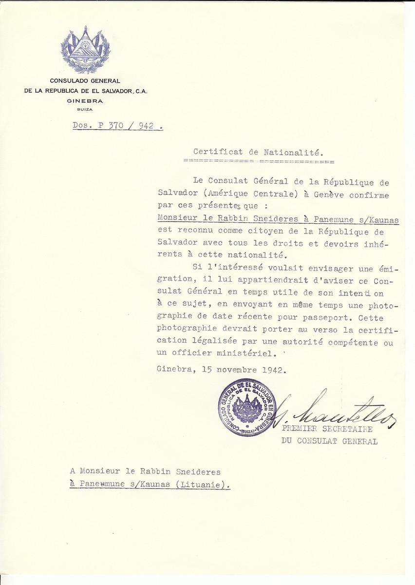 Unauthorized Salvadoran citizenship certificate made out to Rabbi Sneideres by George Mandel-Mantello, First Secretary of the Salvadoran Consulate in Geneva and sent to him in Panemune, near Kaunas.