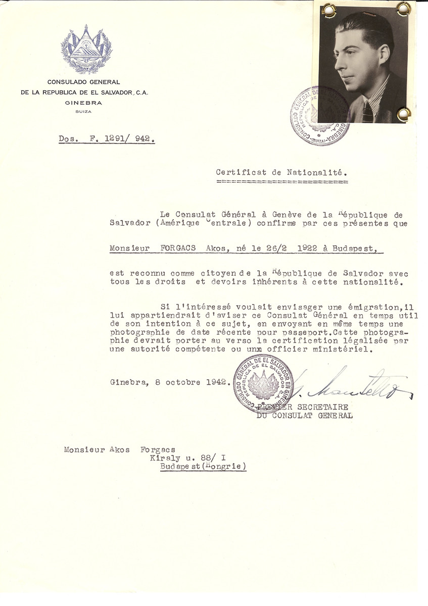 Unauthorized Salvadoran citizenship certificate made out to Akos Forgacs (b. February 26, 1922 in Budapest) by George Mandel-Mantello, First Secretary of the Salvadoran Consulate in Geneva and sent to him in Budapest.  He survived the war.  The certificate was requested by his aunt Klara Hohenberg-Tausky who moved to Switzerland in 1920.
