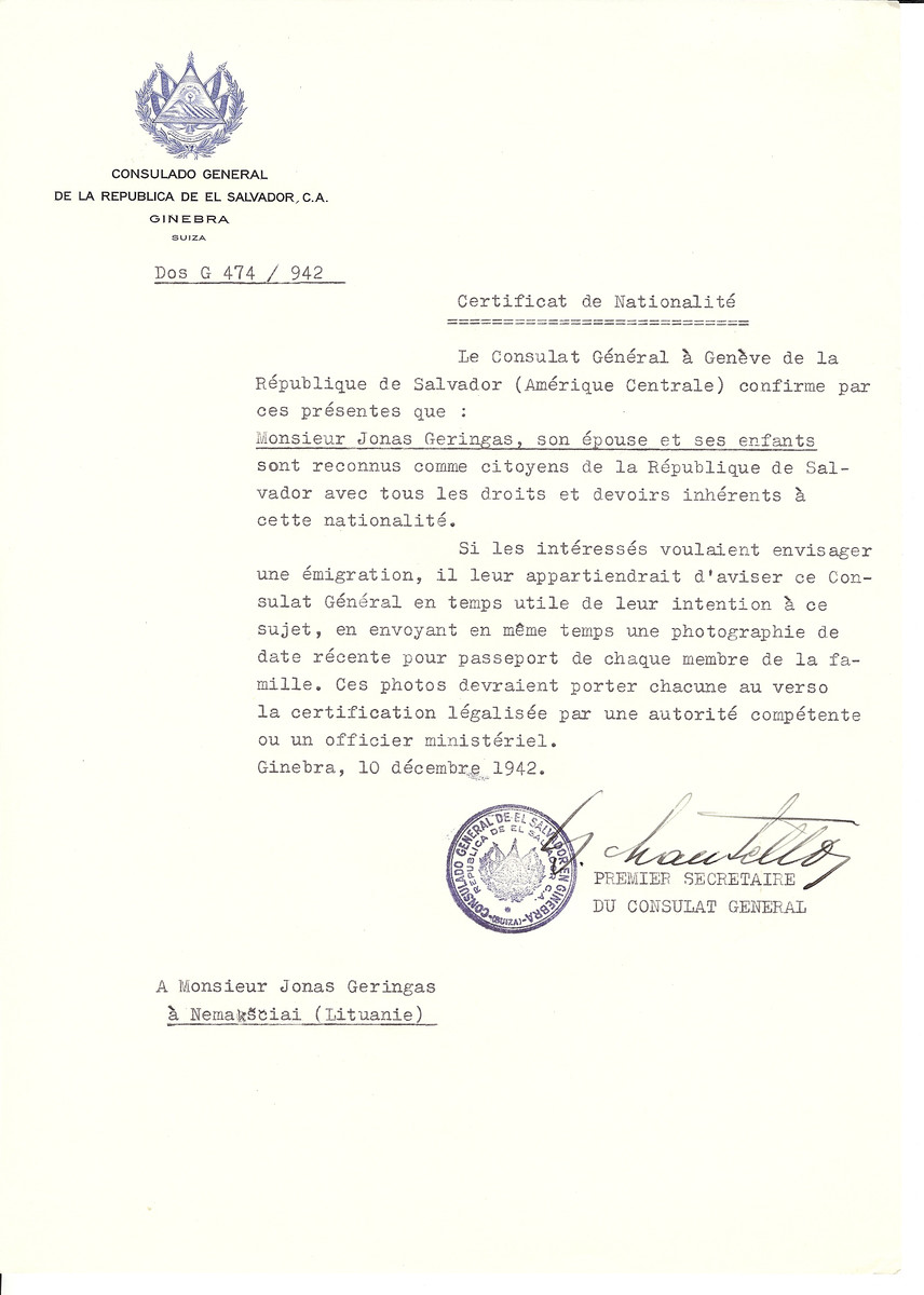 Unauthorized Salvadoran citizenship certificate made out to Jonas Geringas, his wife and children by George Mandel-Mantello, First Secretary of the Salvadoran Consulate in Geneva and sent to them in Nemaksciai.