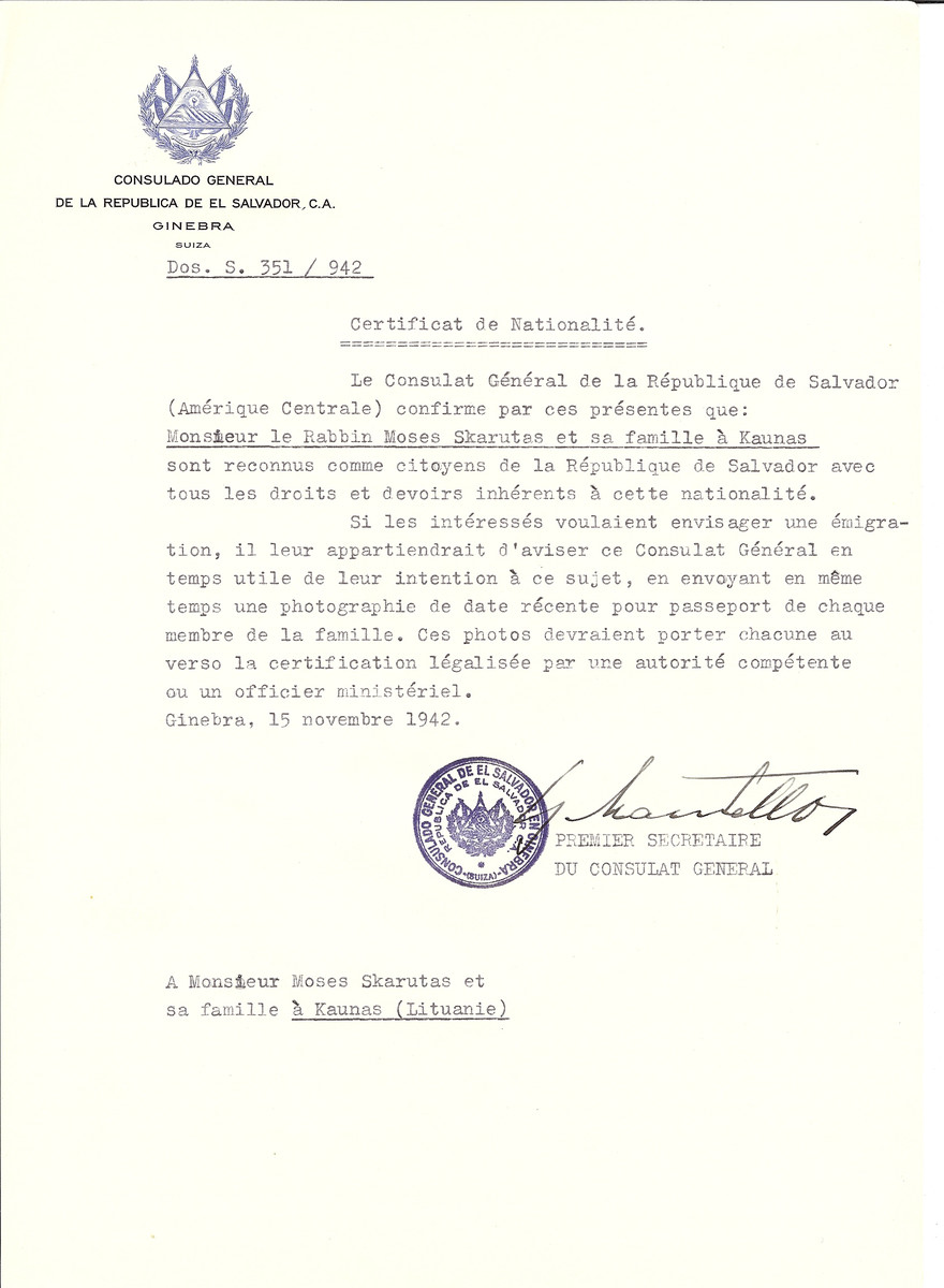 Unauthorized Salvadoran citizenship certificate made out to Rabbi Moses Skarutas and his family by George Mandel-Mantello, First Secretary of the Salvadoran Consulate in Geneva and sent to them in Kaunas.