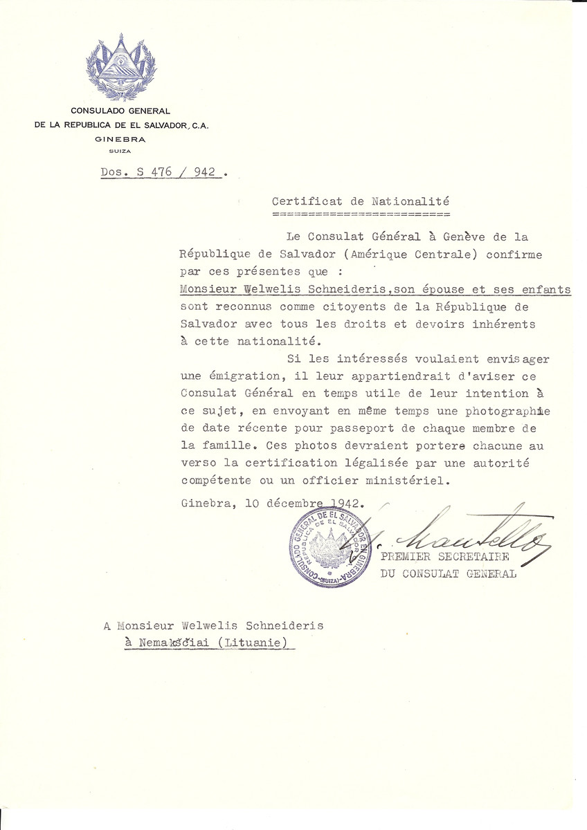 Unauthorized Salvadoran citizenship certificate made out to Welwelis Scheideris, his wife and children by George Mandel-Mantello, First Secretary of the Salvadoran Consulate in Geneva and sent to them in Nemaksciai.