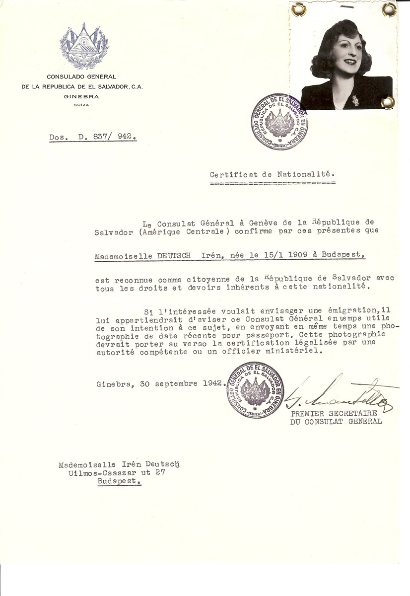 Unauthorized Salvadoran citizenship certificate made out to Iren Deutsch (b. January 15, 1909 in Budapest) by George Mandel-Mantello, First Secretary of the Salvadoran Consulate in Geneva and sent to her in Budapest.