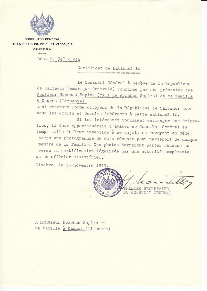 Unauthorized Salvadoran citizenship certificate made out to Noachas [sic Chaim Nachman] Sapiro (son of Abraham Sapiro) and his family by George Mandel-Mantello, First Secretary of the Salvadoran Consulate in Geneva and sent to them in Kaunas.