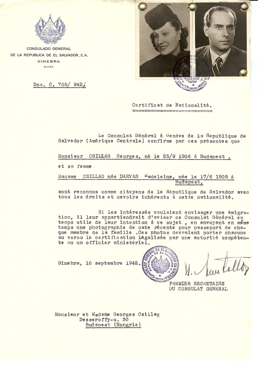 Unauthorized Salvadoran citizenship certificate made out to Georges Csillag (b. September 25, 1906 in Budapest) and his wife Madeline (nee Darvas) Csillag (b. June 17, 1905 in Budapest) by George Mandel-Mantello, First Secretary of the Salvadoran Consulate in Geneva and sent to them in Budapest.