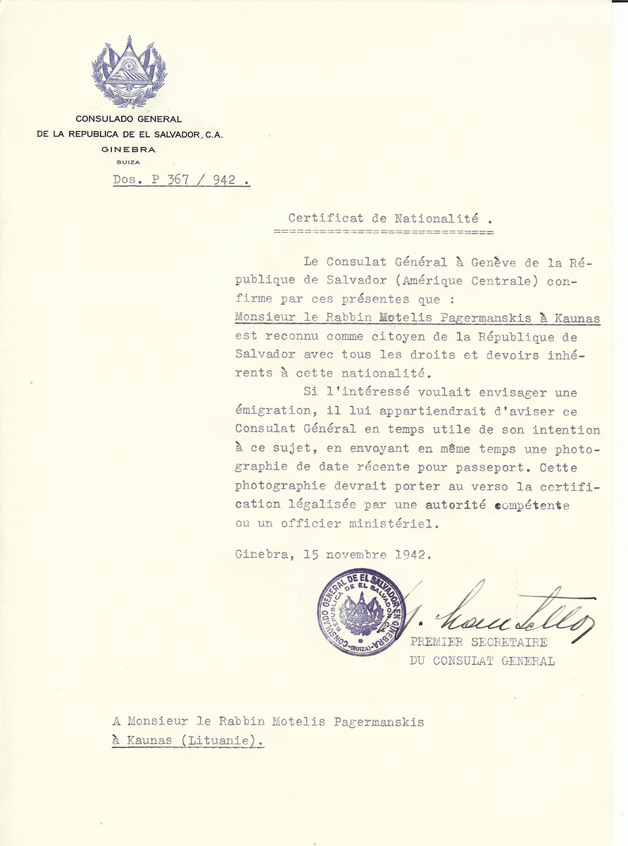 Unauthorized Salvadoran citizenship certificate made out to Rabbi Motelis Pagermanskis by George Mandel-Mantello, First Secretary of the Salvadoran Consulate in Geneva and sent to him in Kaunas.