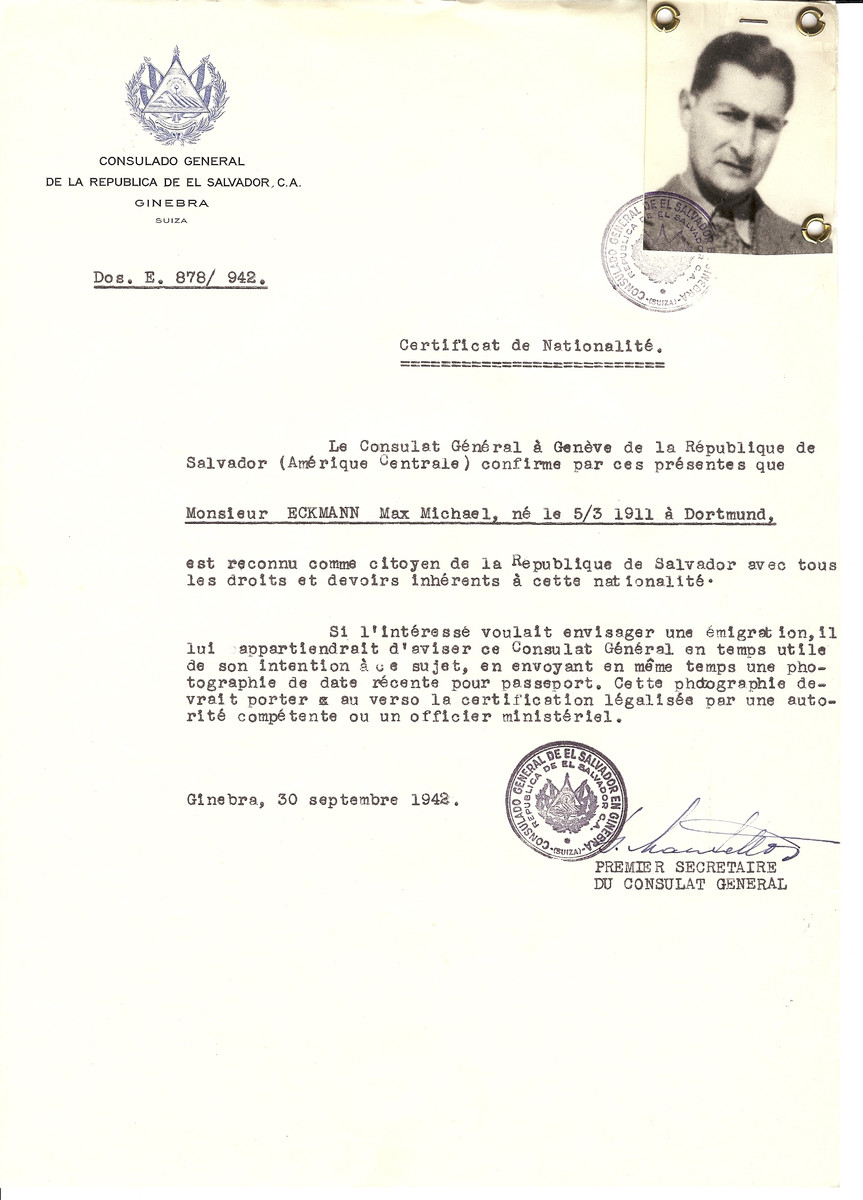 Unauthorized Salvadoran citizenship certificate made out to Max Michael Eckmann (b. March 5, 1911 in Dortmund) by George Mandel-Mantello, First Secretary of the Salvadoran Consulate in Geneva.