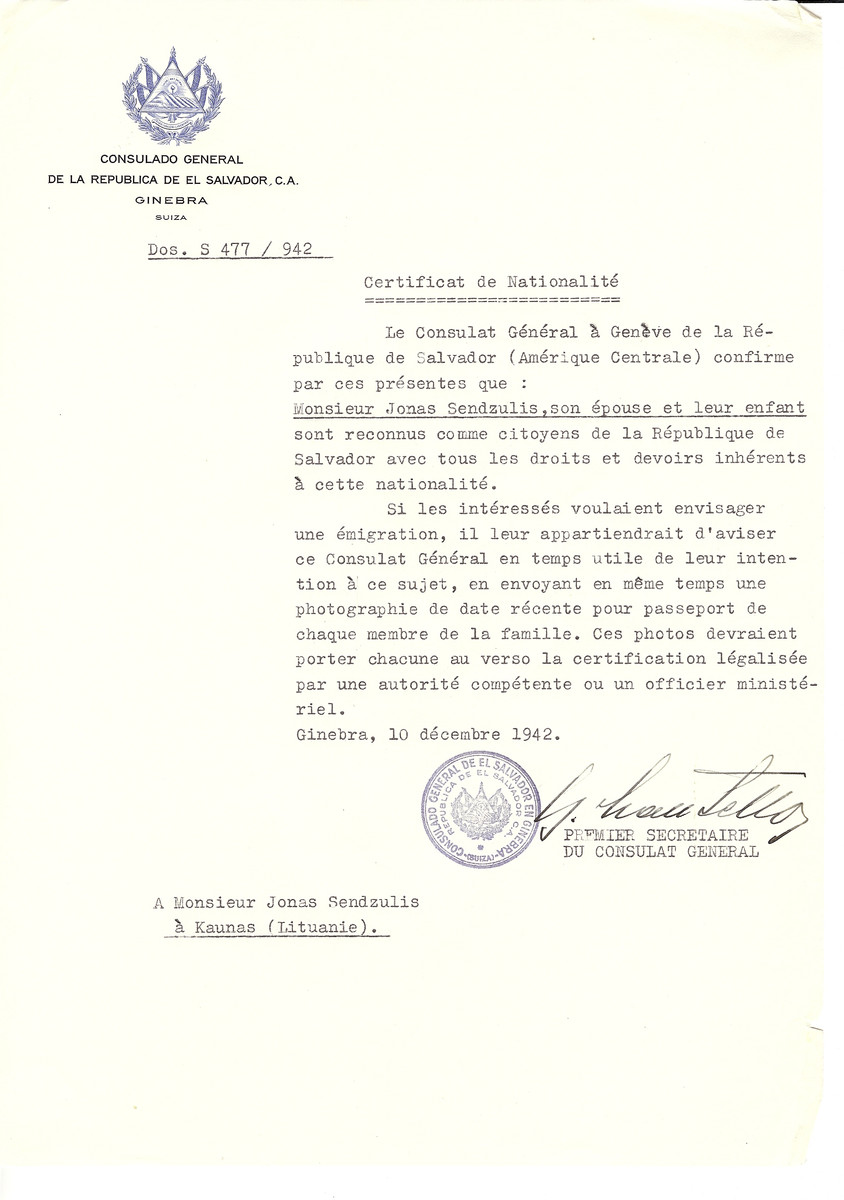 Unauthorized Salvadoran citizenship certificate made out to Jonas Sendzulis, his wife and child by George Mandel-Mantello, First Secretary of the Salvadoran Consulate in Geneva and sent to them in Kaunas.