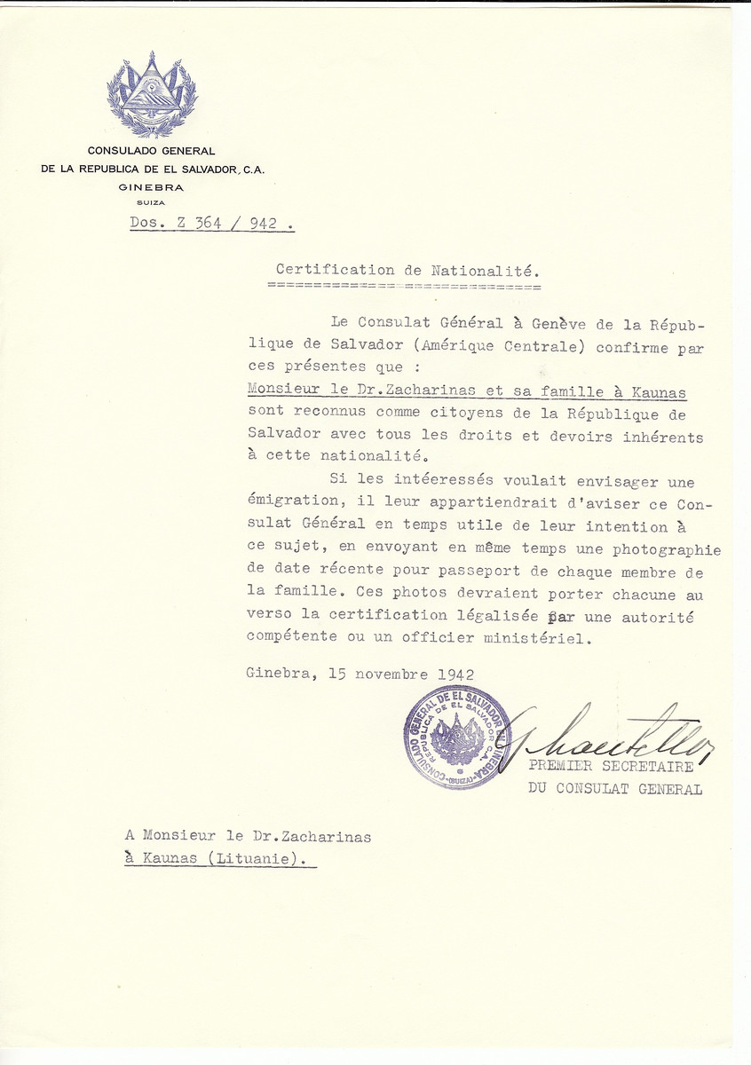 Unauthorized Salvadoran citizenship certificate made out to Dr. Zacharinas and his family by George Mandel-Mantello, First Secretary of the Salvadoran Consulate in Geneva and sent to them in Kaunas.