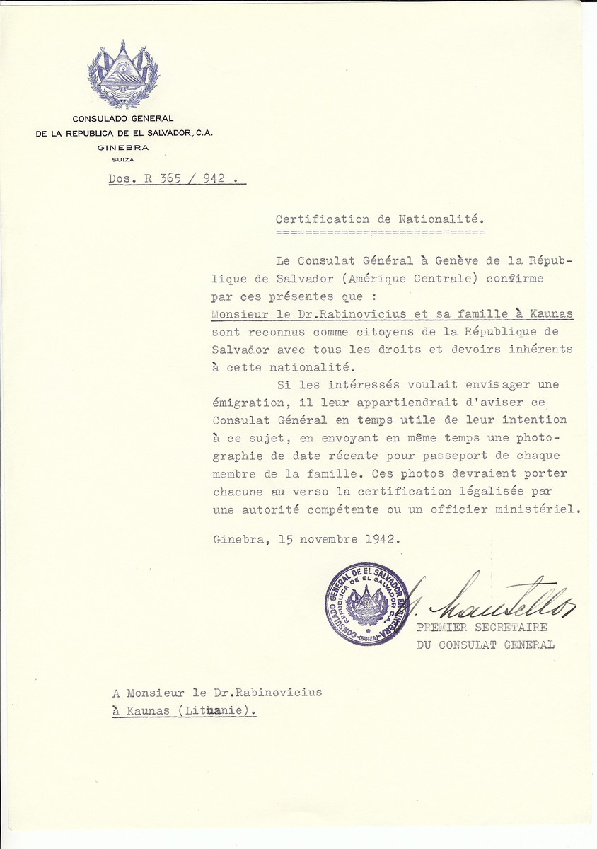 Unauthorized Salvadoran citizenship certificate made out to Dr. Rabinovicius and his family by George Mandel-Mantello, First Secretary of the Salvadoran Consulate in Geneva and sent to them in Kaunas.