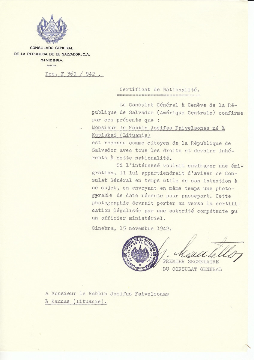 Unauthorized Salvadoran citizenship certificate made out to Rabbi Josifas Faivelsonas (b. in Kupiskai) by George Mandel-Mantello, First Secretary of the Salvadoran Consulate in Geneva and sent to him in Kaunas.