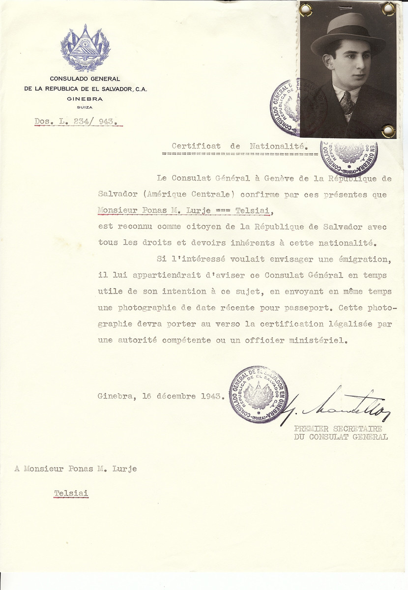 Unauthorized Salvadoran citizenship certificate made out to M. Lurje family by George Mandel-Mantello, First Secretary of the Salvadoran Consulate in Geneva and sent to him in Telsiai.