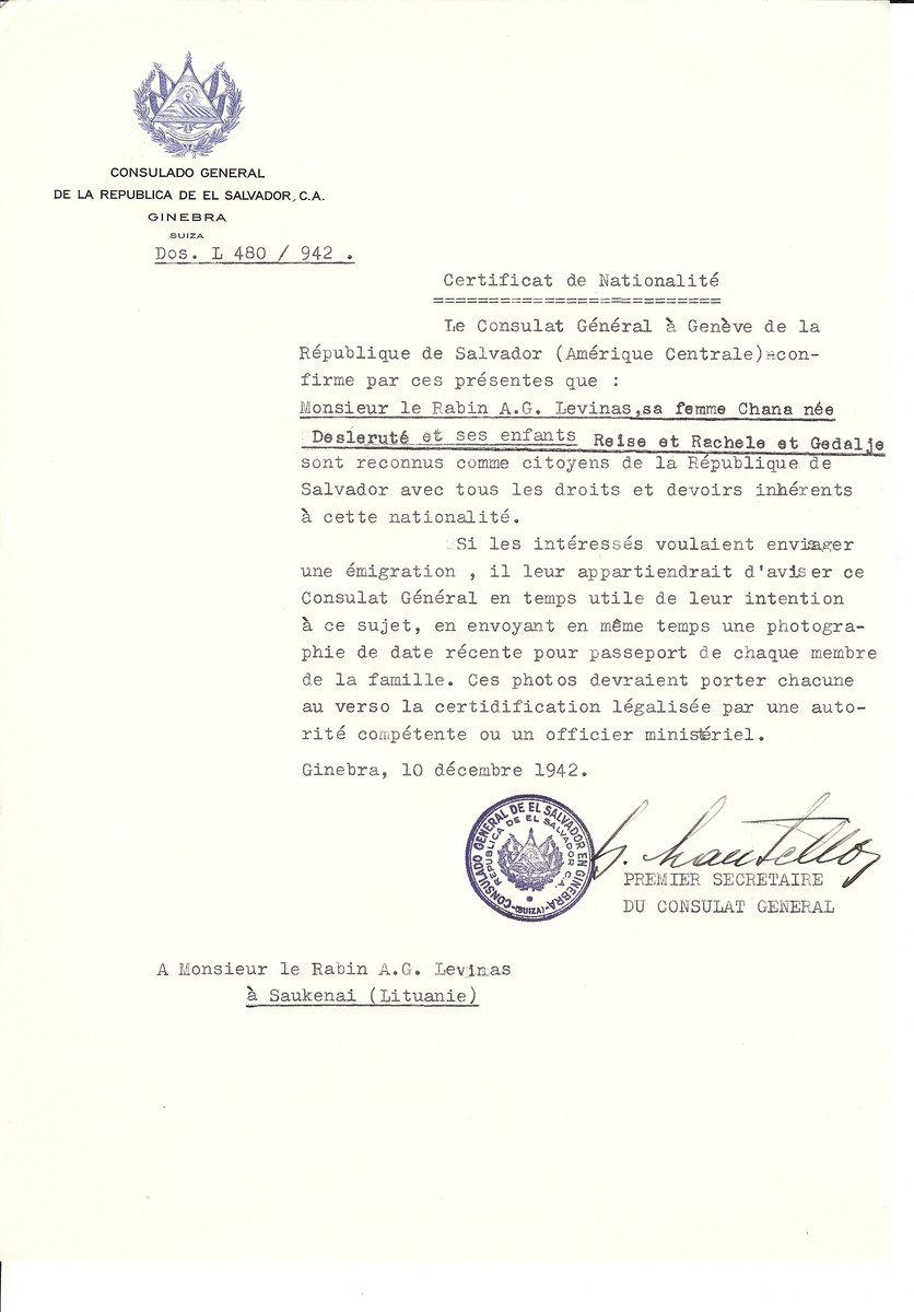 Unauthorized Salvadoran citizenship certificate made out to Rabbi A.G. Levinas, his wife Chana (nee Deslerute) and their children Reise, Rachele and Gedalje by George Mandel-Mantello, First Secretary of the Salvadoran Consulate in Geneva and sent to them in Saukenai.