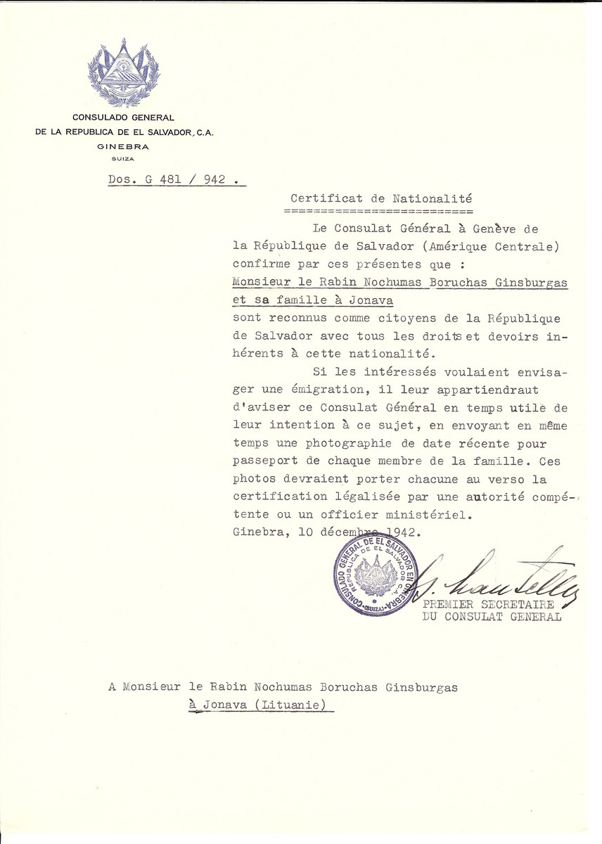 Unauthorized Salvadoran citizenship certificate made out to Rabbi Nochumas Boruchas Ginsburgas and his family by George Mandel-Mantello, First Secretary of the Salvadoran Consulate in Geneva and sent to them in Janowa.